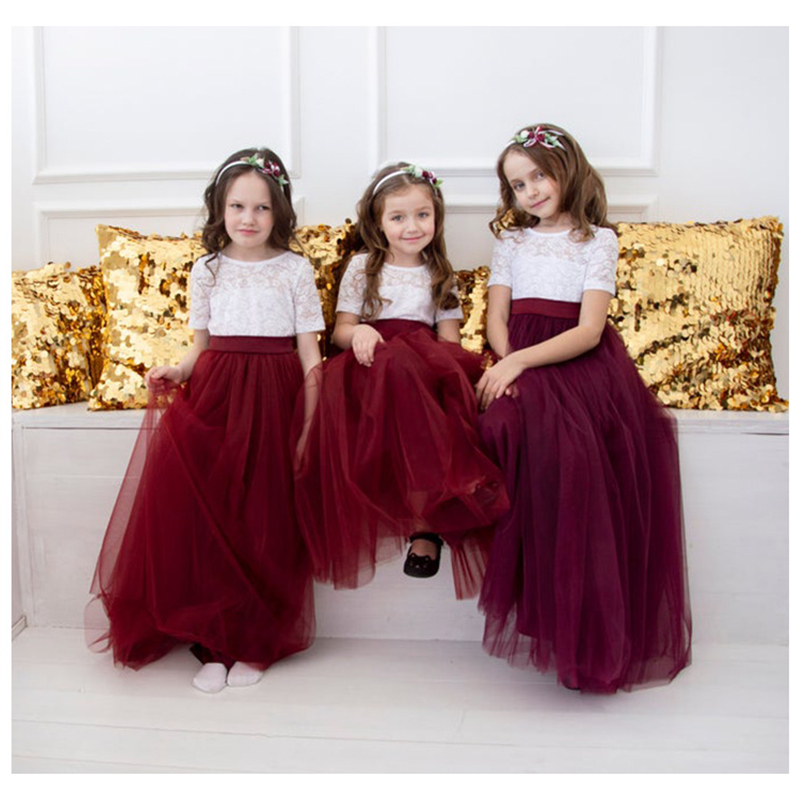 Burgundy Lace Party Prom Princess Pageant Bridesmaid Wedding Flower Girl Dress