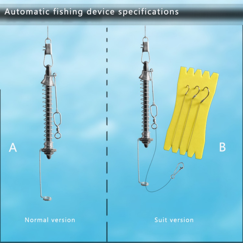 Automatic Fishing Hook Fishing Device Fish Float Stainless Steel Spring Card Touches Hook Fishing Artifact Hook New