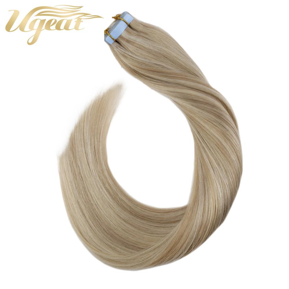 Ugeat лента для наращивания человеческих волос 12-24 дюймов Шелковистые Прямые Натуральные Гладкие Бесшовные двухсторонние ленты выделяют