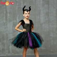 Girls Maleficent Evil Queen Costume Halloween Cosplay Witch Fancy Tulle Tutu Dress with Horns Kids Birthday Party Clothing rockstar queen girls dress train fancy tutu dress christmas halloween cosplay costume kids party pageant performance tulle dress