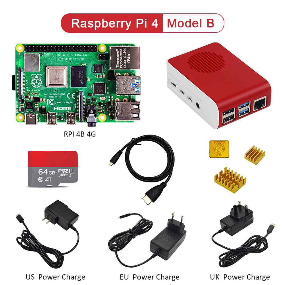 Original Raspberry Pi4 Model B Kit 4GB RAM + Case With Fan +EU/US/UK Type-C 5V/3A Power Charger+HDMI Cable+32G TF Card+ Heatsink