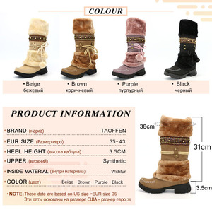 Image 5 - Taoffen novo inverno quente botas de joelho de pele grossa botas de salto alto sapatos femininos moda sexy botas de neve longa tamanho grande 35 43