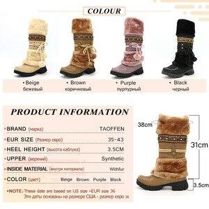 Image 5 - Taoffen yeni kış sıcak diz çizmeler kalın kürk yüksek topuk çizmeler kadın ayakkabıları moda seksi uzun kar botları büyük boy 35  43