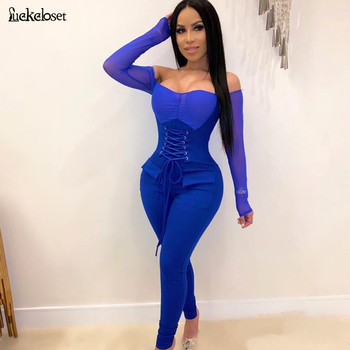 New Womens Off Shoulder long lseeve Sexy Jumpsuit Fashion Lace-Up waist Mesh Jumpsuit Skinny Rompers Club Overalls grey casual velvet off shoulder drawstring waist jumpsuit