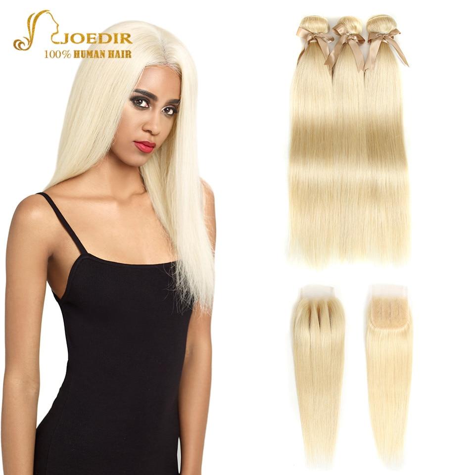 Joedir 613 Bundles With Closure Honey Blonde Human Hair Weave Bundles With Closure Peruvian Straight Hair Bundles With Closure