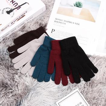 1 para nowy Unisex zima prążkowany wełny z dzianiny pełne rękawiczki z palcami moda podstawowe zagęścić pluszowe podszewka termiczna na rękę rękawiczki tanie i dobre opinie okdeals Kaszmirowy COTTON Dla dorosłych Stałe Nadgarstek Full Fingered Gloves knitting 18*7 5CM 1Pair Warm Glove hicken Plush Lining