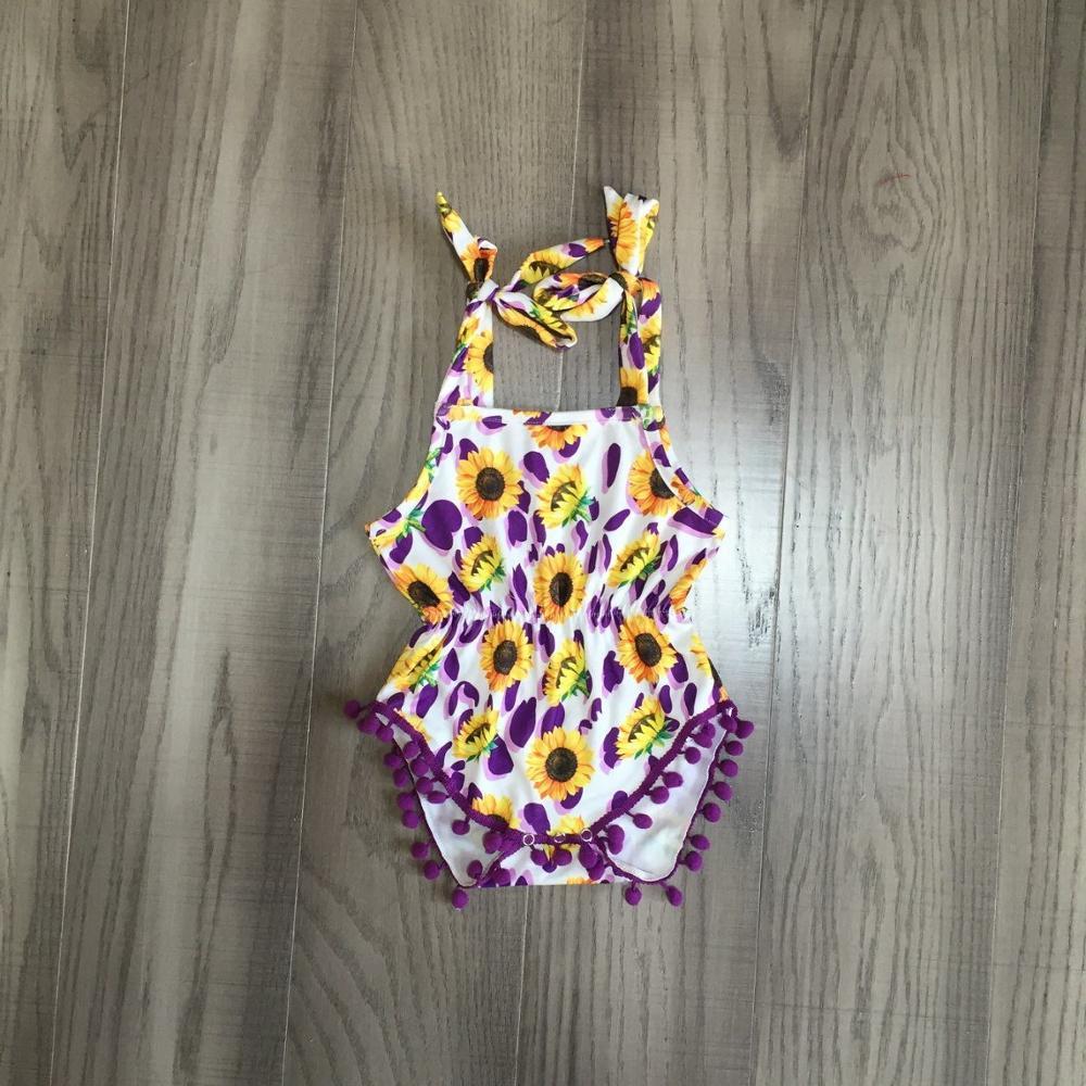 Baby Girls Summer Dress Sunflower Purple Dress With Bow Girls Slip Romper Infant Baby Sunflower Romper