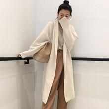 Fall Winter 2019 New Office lady Pure Beige Overcoat Woolen Coats Autumn Lady Warm Oversize Loose Long Overcoats Korean Style