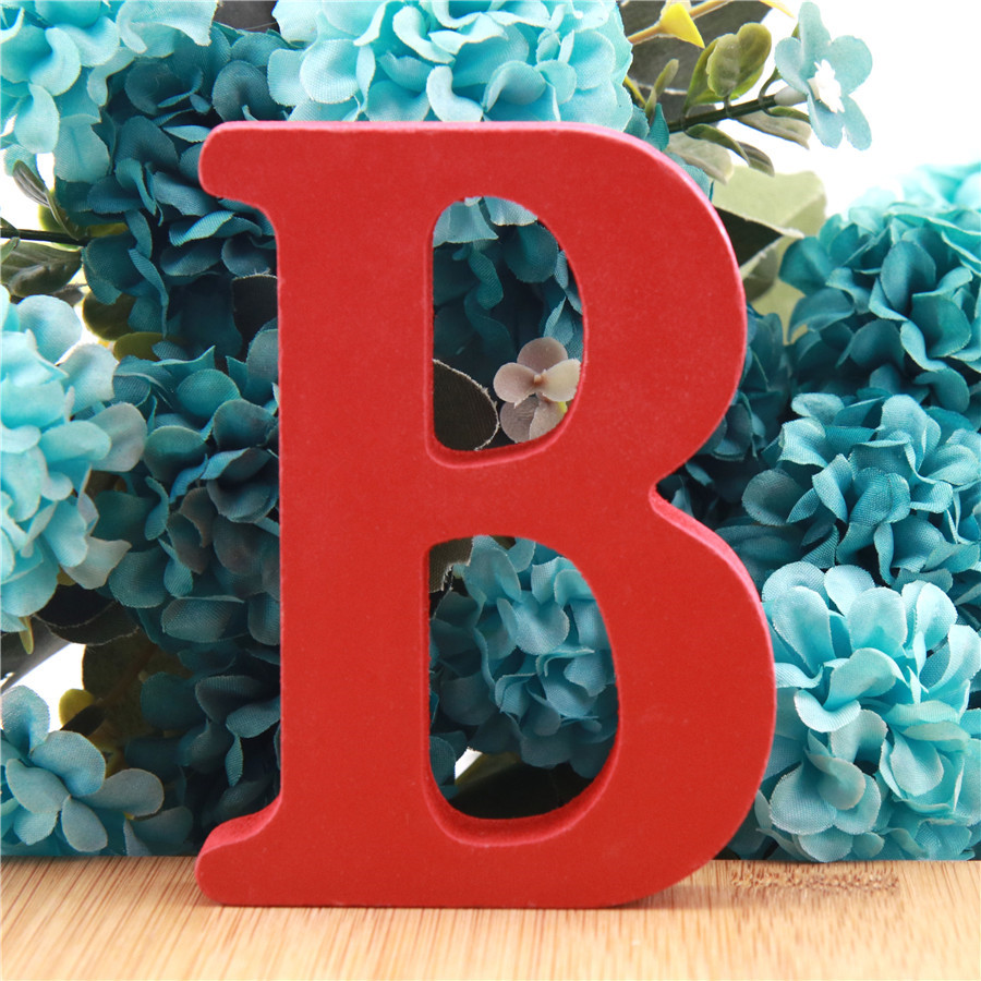 1pc 10cm Red Wooden Letters Alphabet DIY Word Letter Birthday Wedding Home Decor Art Crafts Standing Name Design 3.94 Inches