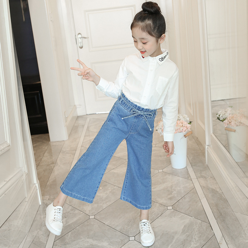 2019 New Autumn Girl Sports Jeans Pant Casual Denim Trousers with Waistband Hip Hop Pants for Kids Girls Leggings in Jeans from Mother Kids