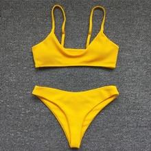 Swimwear Women Swimsuit Yellow Push Up Micro Bikini Set Biquini Bathing Suit Beachwear Bikinis 2019 Mujer brand 2017 bikinis women push up lace bikini bandage swimsuit swimwear bathing suit women lady hipster biquini