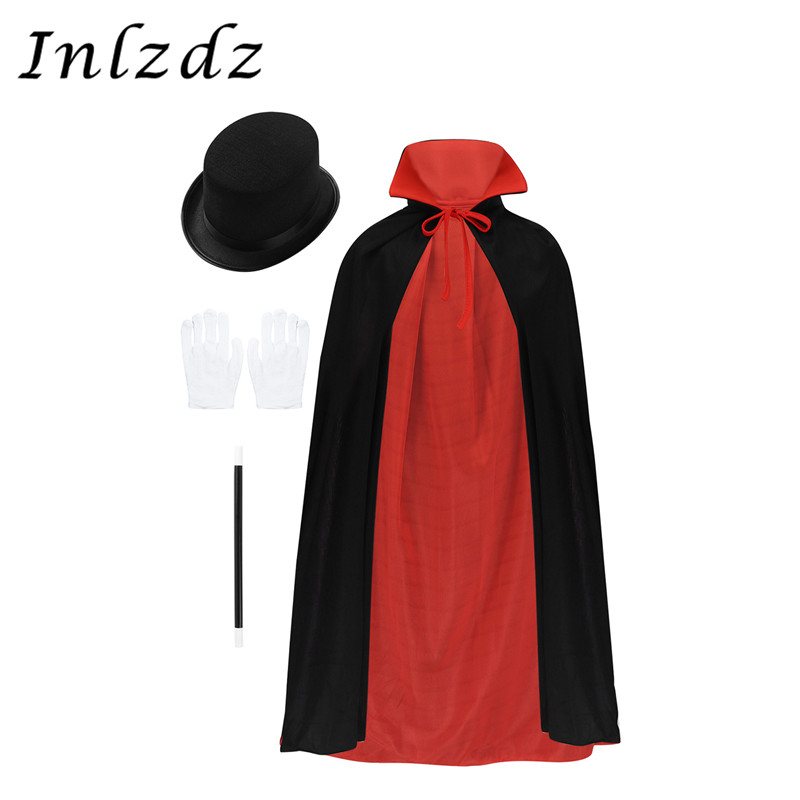 Kids Boys Magician Role Play Cosplay Costumes Outfit Cape Hat Magic Wand Gloves Set Children's Halloween Festivities Magic Cape 1