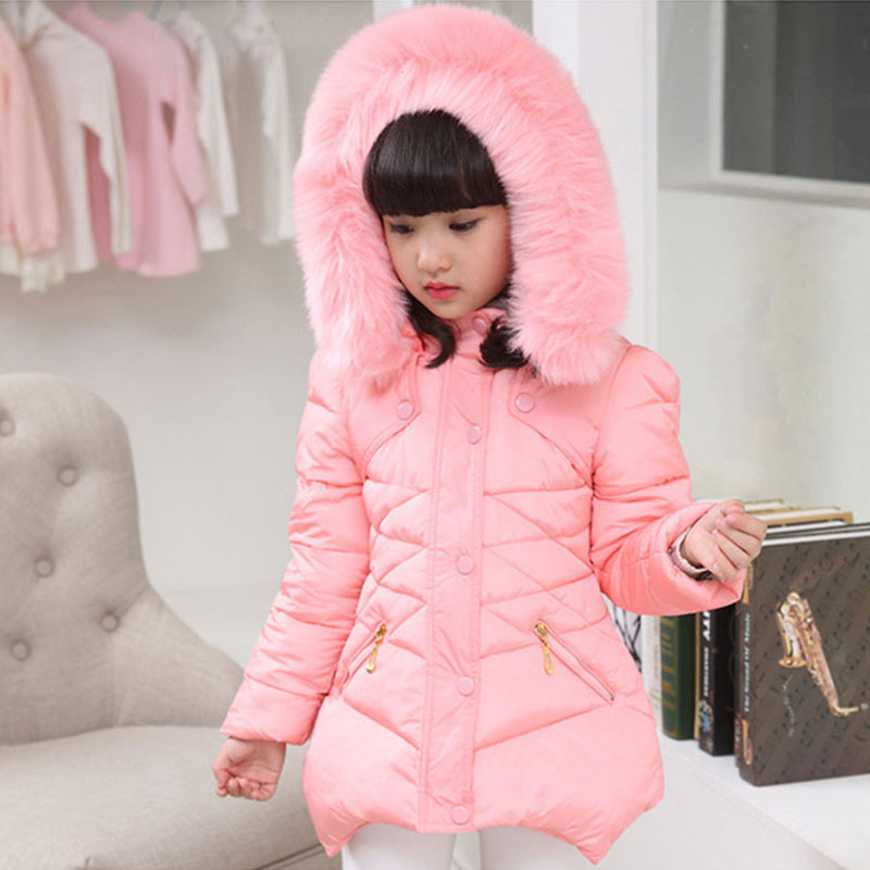 Kids Cothing Warm Padding Jacket For Girl Long Winter Thicken Parka With Fur Hood Children Outerwear Coats 4 6 8 10Year Old