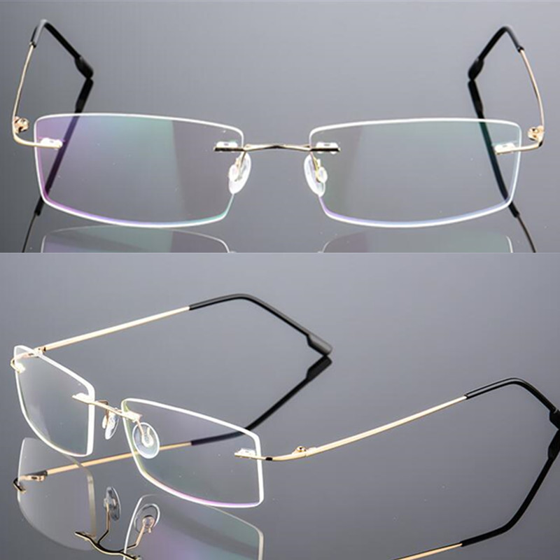 Titanium Alloy Eyeglasses Frame Men Ultralight Square Prescription Myopia Optical Rimless Glasses Frames Unisex Eyewear Rx Able