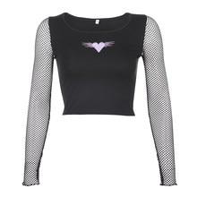 Weekeep-Camiseta recortada con bordado en forma de corazón para mujer, remera de manga de malla de retales, Top corto de mujer 2020
