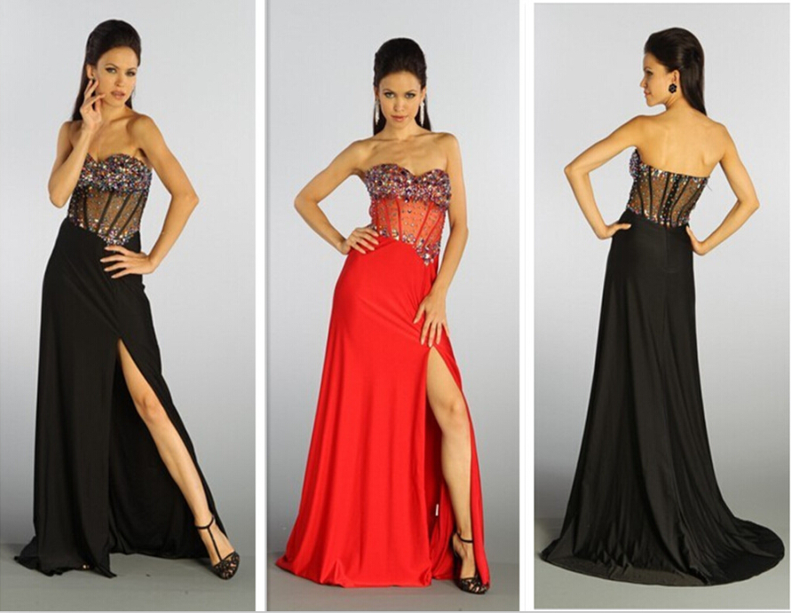 Free Shipping 2018 New Sexy Beaded Chiffon Vestidos Para Festa Long Party Gowns Crystal Black Red Prom Bridesmaid Dresses
