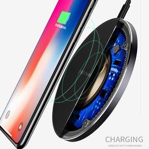 Image 3 - 10W Qi kablosuz şarj cihazı ince Metal tampon iPhone 11 Samsung S20 S10 S9 not 8 9 10 hızlı kablosuz şarj hızlı şarj adaptörü
