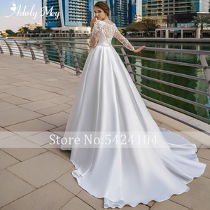 Image 2 - Adoly Mey New Arrival Scoop Neck Button Satin A Line Wedding Dresses 2020 Full Sleeve Appliques Court Train Vintage Wedding Gown