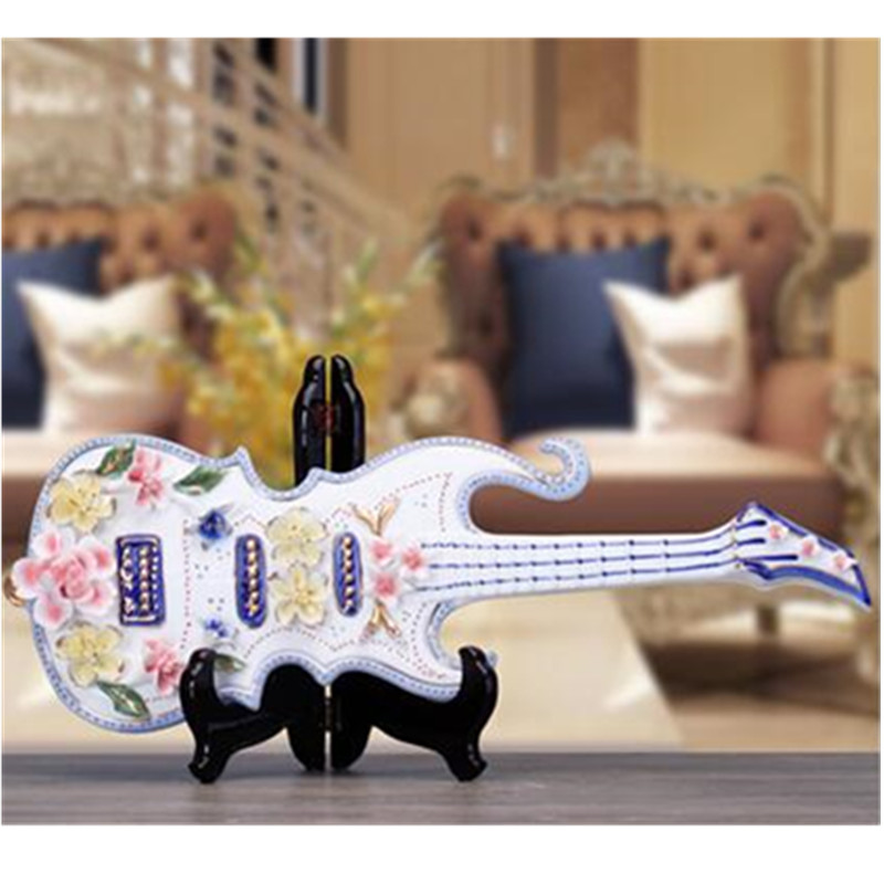 Style chinois céramique Simulation violon guitare Instruments de musique décoration créative salon entrée ornements X2872 - 3