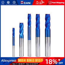 XCAN 1pc 4mm 12mm Nano Blue Coating Roughing End Mill 4 Flute Spiral Carbide End Mill CNC Router Bit End Milling Cutter