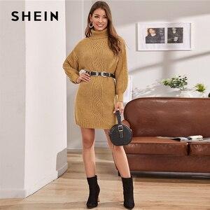 Image 5 - שיין גמל גולף כבל לסרוג שרוול פנס סוודר שמלה ללא חגורת נשים חורף קצר ישר מקרית שמלות