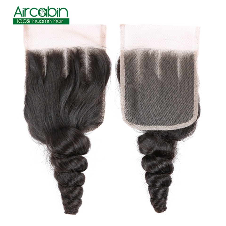 Brazilian Loose Wave Bundles With Closure Human Hair Weave 4 Bundles With Lace Closure AirCabin Remy Hair Extensions Natural
