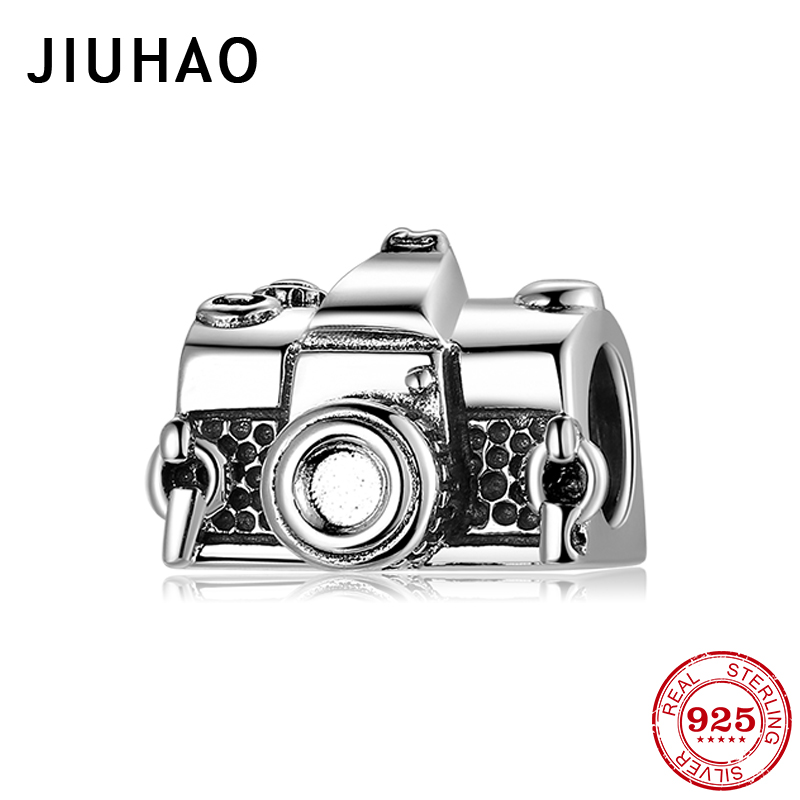 Fit Original Pandora Charms Bracelet Cassette Camera Beads Real 925 Sterling Silver Bead DIY Jewelry Making
