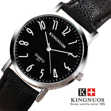 KINGNUOS Brand Watch Men WristWatches Watchband Leather Clock Male Waterproof Business High Quality Water Resistant Quartz watch casual men s watch fashion male quartz clock black business leather watchband water resistant man wrist watch precise time hour