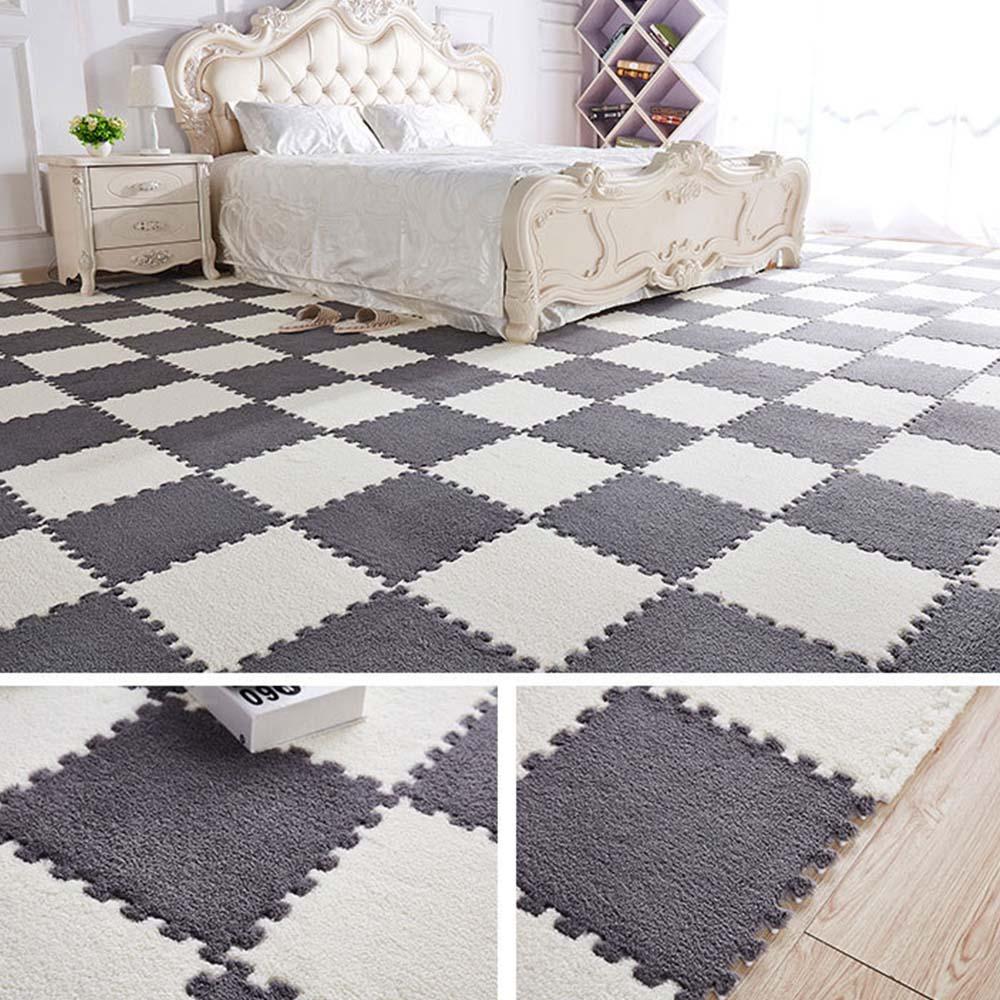 Interlocking Exercise Crawl Tiles Bedroom Floor Puzzle Carpet Lint-free EVA Waterproof Plush Mat For Baby Play Mat Home Decor