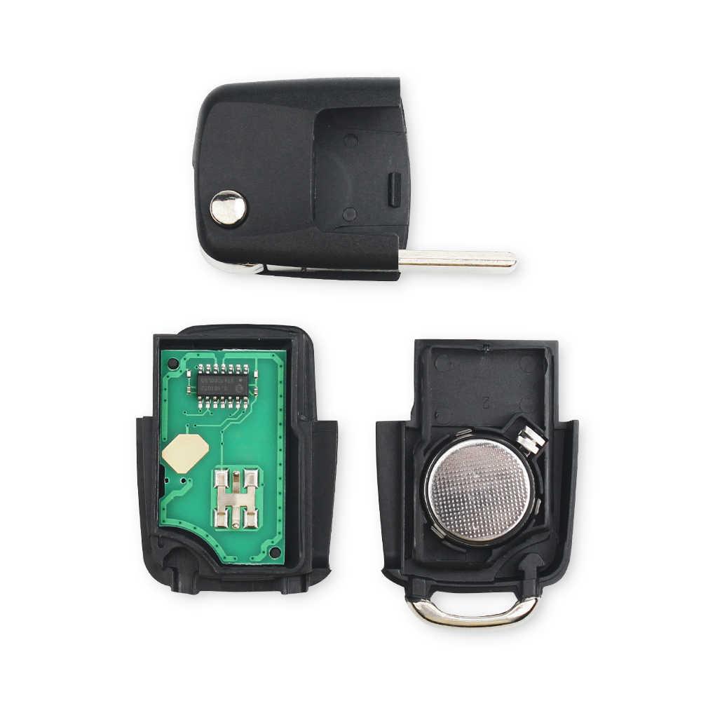 مفتاح سيارة KEYYOU 3 أزرار قلّاب قابل للطي ذكي مفتاح السيارة فوب لسيارة VW Volkswagen PASSAT Polo Skoda سيات 1J0959753DA 434Mhz مع ID48