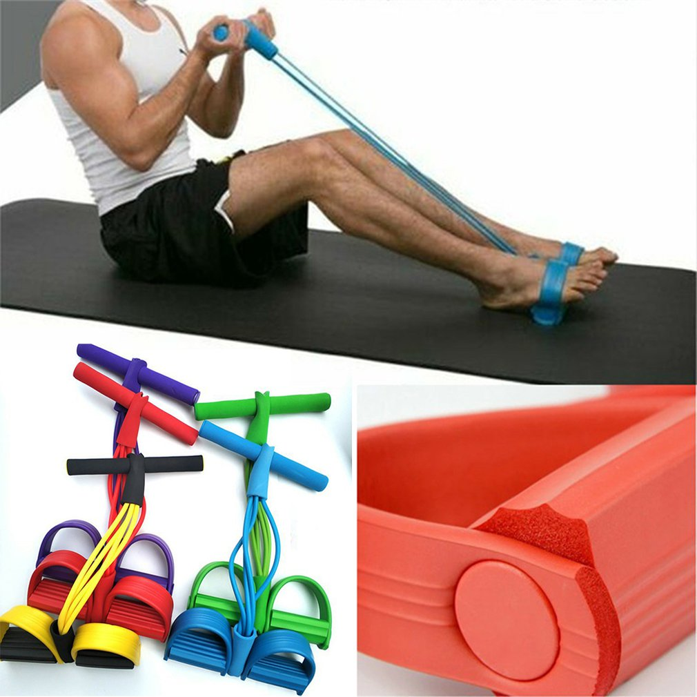 Hot Weight Loss Fitness Equipment Four tube Tension Trainer Sports Foot Expander Chest Pull Leg Latex Draw Rope Gymnastics Rope