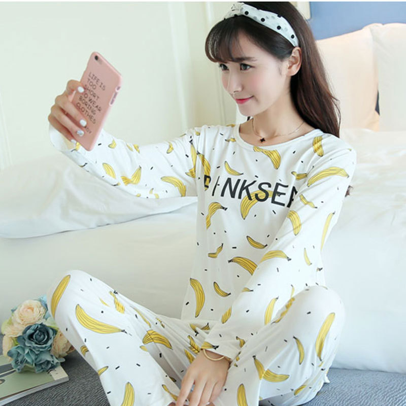 Spring And Summer Days Cartoon Fresh Simple Women's Home Wear Spring And Autumn Pajamas Women Long Sleeve Thin Stripes Two-Piece
