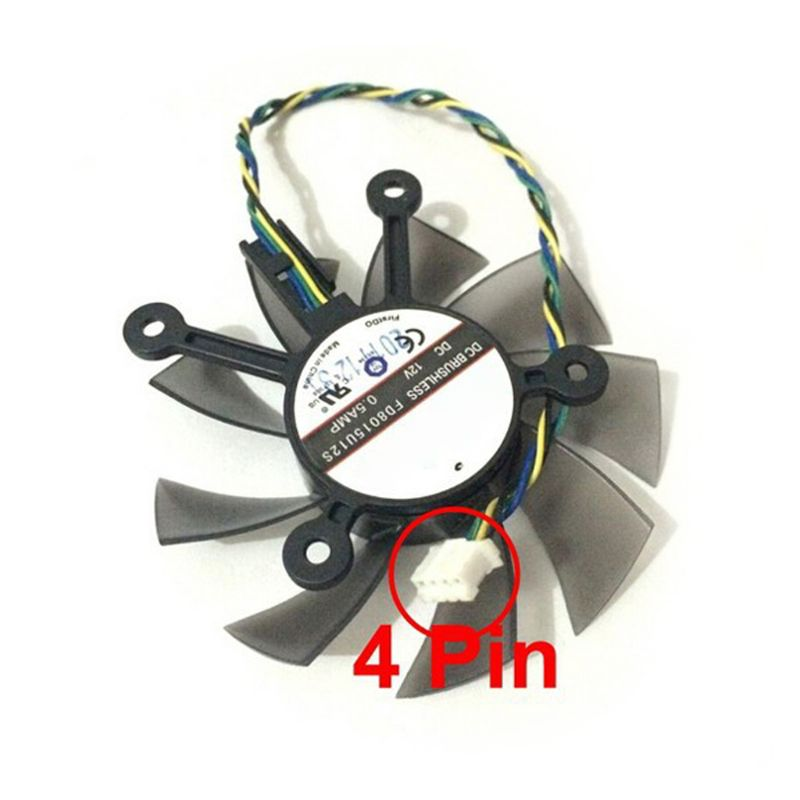 2020 New 75MM FD8015U12S DC12V 0.5AMP 4PIN Cooler Fan For ASUS GTX 560 GTX550Ti HD7850 Graphics Video Card Cooling Fans
