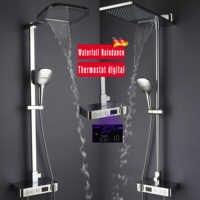 浴室のシャワー蛇口セットバスミキサー滝雨シャワーヘッドサーモスタットミキサータップデジタルシャワーパネルシャワーシステム