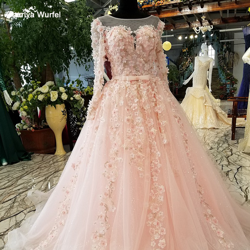 LS54088 long sleeves pink   evening     dress   A-line illusion lace up keyhole back simple formal party   dress   with flowers and beadings