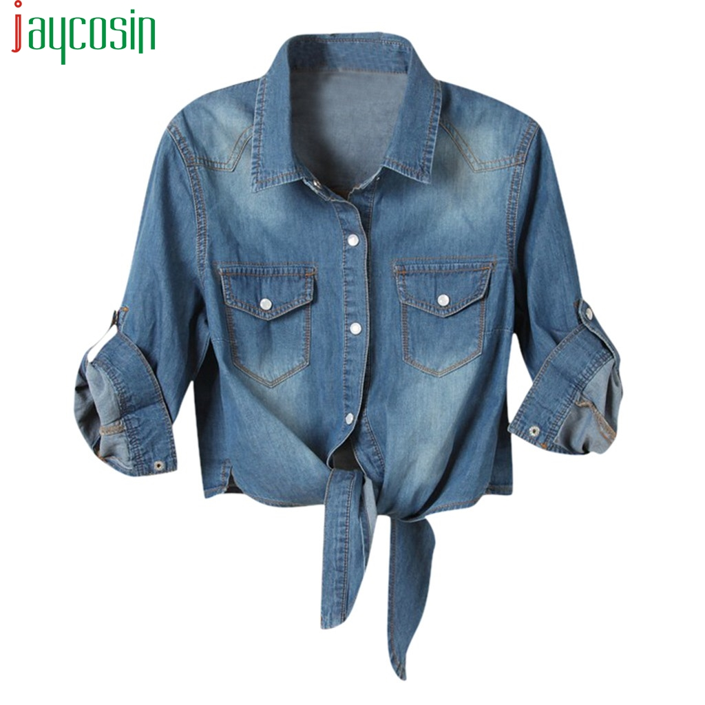 Women Summer Denim Jacket Knotted Casual Solid Buttons Sleeve Top Plus Size Short Pocket Fashion Jacket Women Summer Denim Jacket Knotted Casual Solid Buttons Sleeve Top Plus Size Short Pocket Fashion Jacket Feminina Ladies Coats