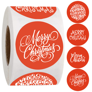 Merry christmas stickers round red custom for party decor labels Children gift stationery