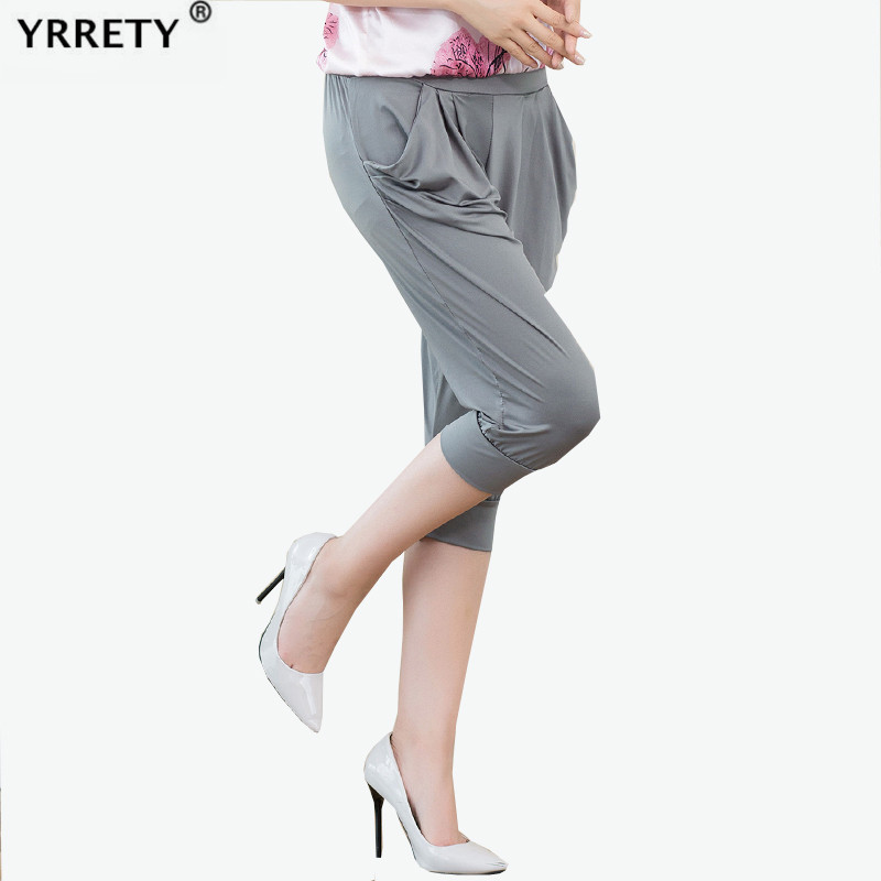 YRRETY Women Summer Solid Harem Pants Loose Knee Length Trousers Female Elastic Waist Capris Pants Plus Size Mujer Thin Pant