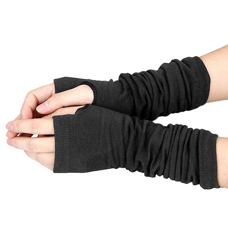 Men Women Unisex Knitted Fingerless Gloves Soft Warm Long Mitten Warm Winter, Black
