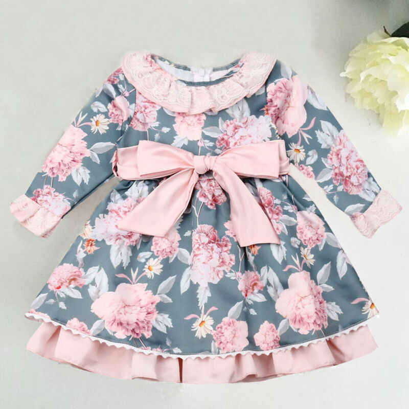 US Autumn Flowers Kids Baby Girl Dress Long Sleeve Party Dresses Toddler Clothes