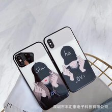 Tide brand mobile phone case glass case XSMAX XR for iphone7/8Plus couple models phone cases(China)