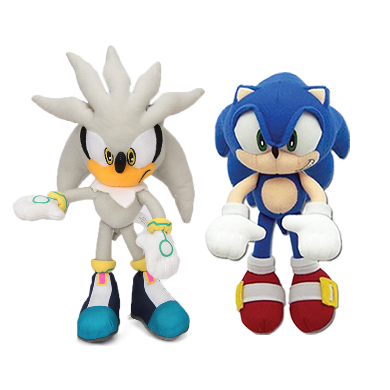 Pack Of 2 18-32cm Sonic Toys Silver Blue Sonic Plush Set Super Sonic The Hedgehog Plush Toy Sonic Tails Knuckles Dolls Keychain