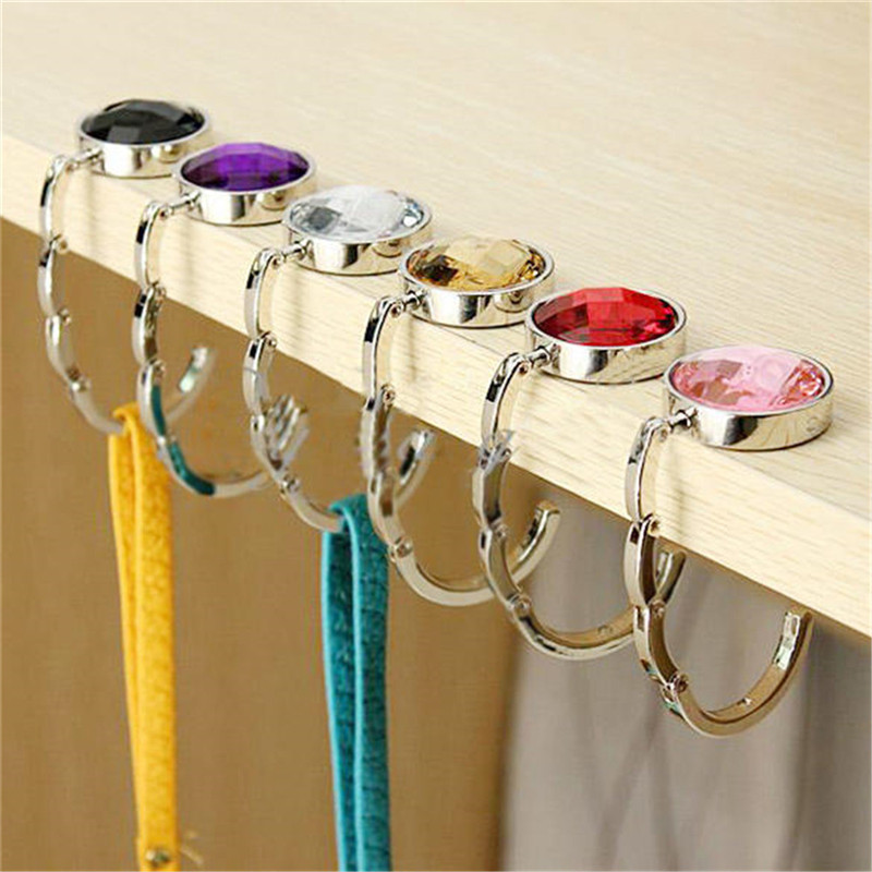 For Hanging Crystal Alloy Magic Hooks For Purse Bag Hanger Portable Handbag Folding Hanger Holder Hook