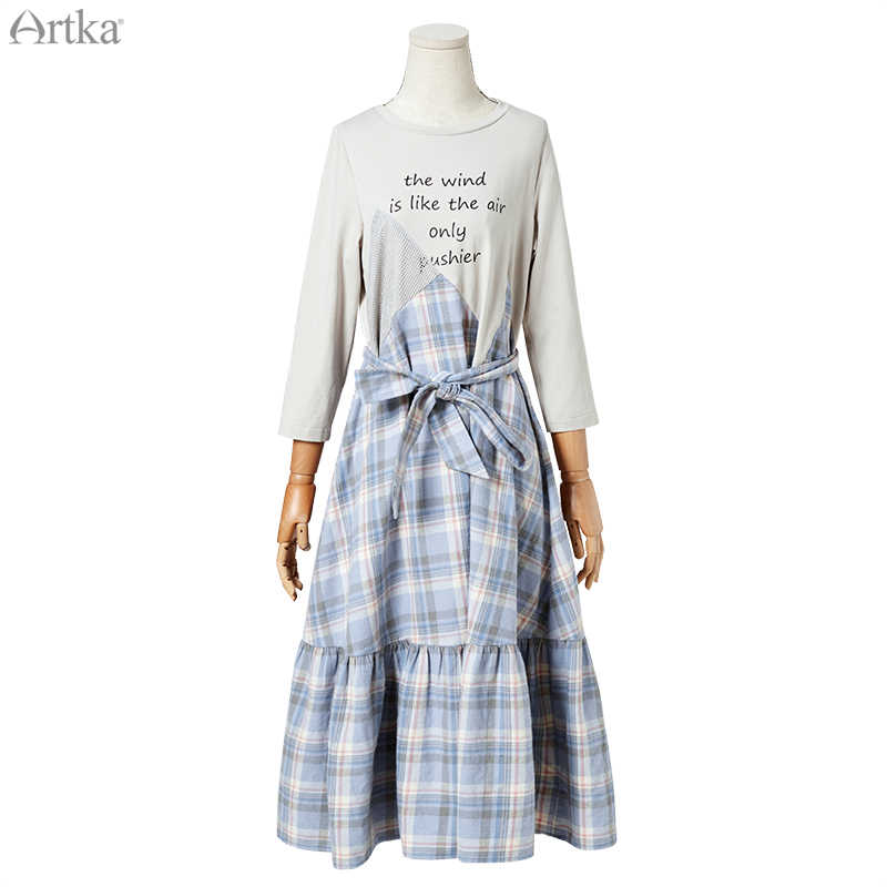 ARTKA 2019 осенние новые женские платья асимметричное клетчатое платье с поясом гофрированное Повседневное платье с буквенным принтом женское LA15394Q