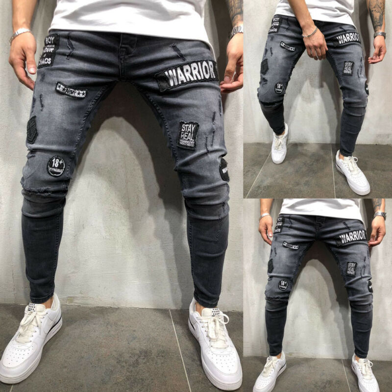 New Men's Biker Ripped Skinny Long Pants Bleached Distressed Frayed Female Casual Slim Fit Denim Pants Pencil Pants S-3XL