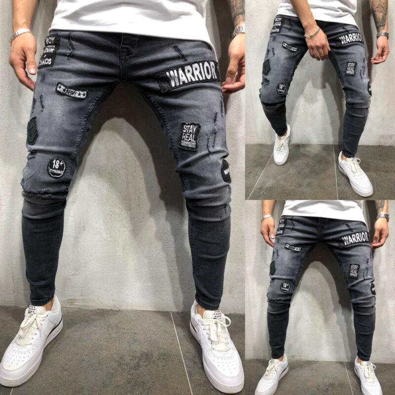 New Men's Biker Ripped Skinny Long Pants Bleached Distressed Frayed Female Casual Slim Fit Denim Pants Pencil Pants S-3XL