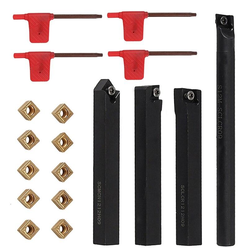 4pcs 12mm Lathe Turning Tool Holder + 10pcs Solid Carbide Inserts Holder Boring Bar For Lathe Cutter Metal Turning