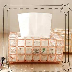 High Quality European Simple Crystal Tissue Box Home Lounge Coffee Table Drawers Desktop Towel Storage Box Creative Auto 3Colors