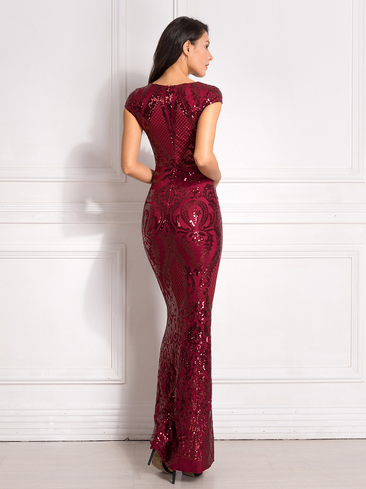 Burgundy Sequined Evening Party Dress Cap Sleeve Floor Length Stretchy Maxi Dress 2019 Autumn Winter 13