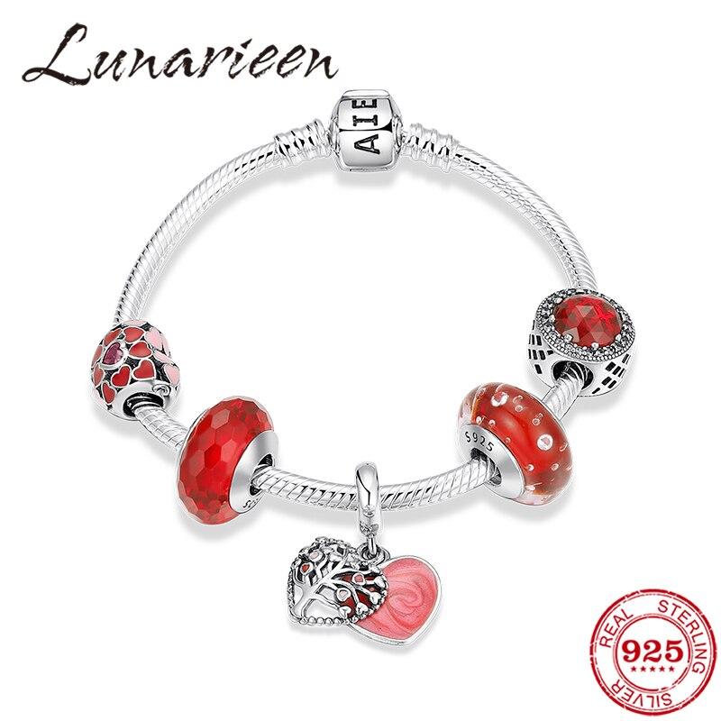 Haute qualité en argent Sterling 925 Bracelets pour femme/fille cadeau rouge CZ émail coeur perles de verre élégant charme chaîne Bracelets